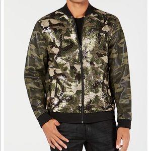 INC Mens Green Camo Sequin Full Zip Jacket